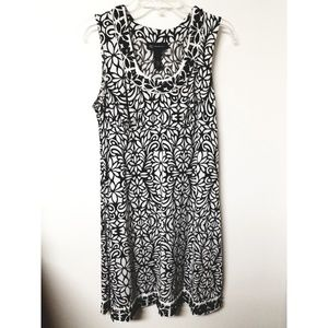 INC India Floral NWT Black & White Dress